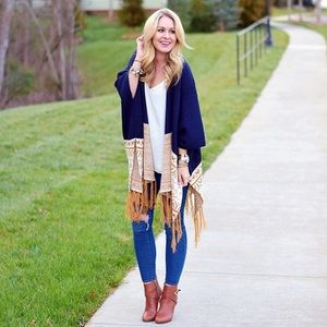 Sweaters - Navy & Tan Aztec Print Fringe Poncho